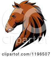 Clipart Of A Tough Brown Horse Head In Profile Royalty Free Vector Illustration