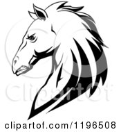 Clipart Of A Tough Black And White Horse Head In Profile Royalty Free Vector Illustration