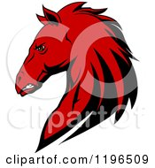 Clipart Of A Tough Red Horse Head In Profile Royalty Free Vector Illustration