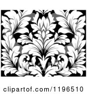 Clipart Of A Black And White Seamless Damask Pattern 2 Royalty Free Vector Illustration