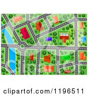 Clipart Of An Aerial Map View Of Houses Buildings And Roads By A River Royalty Free Vector Illustration