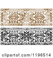 Clipart Of Ornate Brown And Black And White Arabic Borders Royalty Free Vector Illustration