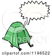 Cartoon Of A Tent Speaking Royalty Free Vector Illustration by lineartestpilot