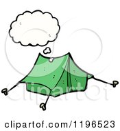 Cartoon Of A Tent Thinking Royalty Free Vector Illustration by lineartestpilot