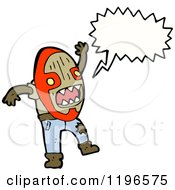 Cartoon Of A Person In A Witch Doctor Mask Speaking Royalty Free Vector Illustration