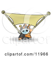 Joker Jester Character Stretching A Blank Banner