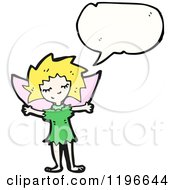 Cartoon Of A Fairy Speaking Royalty Free Vector Illustration by lineartestpilot