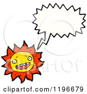Cartoon Of A Sun Speaking Royalty Free Vector Illustration by lineartestpilot