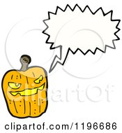 Cartoon Of A Jack O Lantern Speaking Royalty Free Vector Illustration by lineartestpilot
