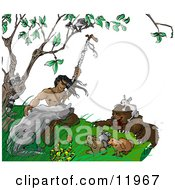 Native American Indian Man Holding A Staff Surrounded By Wild Animals Clipart Illustration