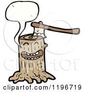 Cartoon Of A Tree Stump Speaking Royalty Free Vector Illustration