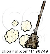 Cartoon Of A Broom Sweeping Royalty Free Vector Illustration by lineartestpilot