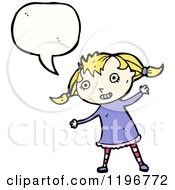 Cartoon Of A Little Girl In Pigtails Speaking Royalty Free Vector Illustration