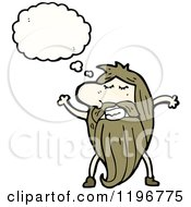 Cartoon Of A Caveman Thinking Royalty Free Vector Illustration by lineartestpilot