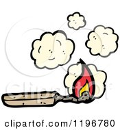 Cartoon Of A Burned Wooden Matchstick Royalty Free Vector Illustration