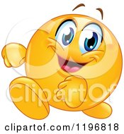 Cartoon Of A Happy Emoticon Walking Royalty Free Vector Clipart