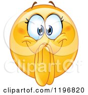 Cartoon Of An Excited Femal Emoticon Clasping Her Hands In Front Of Her Mouth Royalty Free Vector Clipart