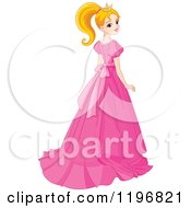 Cartoon Of A Pretty Princess In A Pink Gown Looking Back Over Her Shoulder Royalty Free Vector Clipart