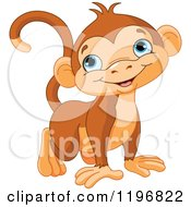 Cartoon Of A Happy Cute Monkey With Blue Eyes Royalty Free Vector Clipart