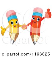 Cartoon Of Happy Red And Yellow Pencils Holding Hands And Giving A Thumb Up Royalty Free Vector Clipart by Pushkin