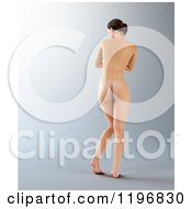 Clipart Of A Rear View Of A 3d Nude Woman On Gray Royalty Free CGI Illustration