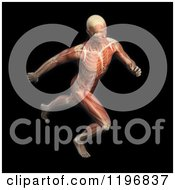 Clipart Of A 3d Male Runner Body With Visible Muscles And Skeleton Over Black Royalty Free CGI Illustration