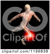 Clipart Of A 3d Male Runner Body With Visible Knee Pain Muscles And Skeleton Over Black Royalty Free CGI Illustration