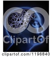 Clipart Of A 3d Glowing Head With A Gear Cog Brain Over Black Royalty Free CGI Illustration