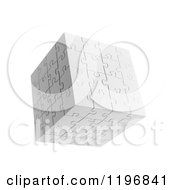 Poster, Art Print Of 3d Floating White Puzzle Cube Over White