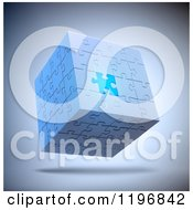 Clipart Of A 3d Floating Puzzle Cube With One Unique Piece Over Shading Royalty Free CGI Illustration