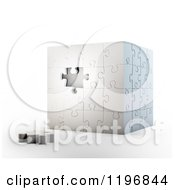 Clipart Of A 3d Puzzle Cube With One Piece Unassembled Over Shading 2 Royalty Free CGI Illustration by Mopic
