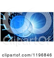Clipart Of A 3d Bit Coin In A Binary Vortex With Bright Light Royalty Free CGI Illustration