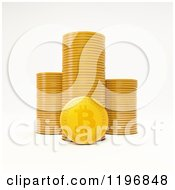 Clipart Of A 3d Golden Bit Coin And Stacks On White Royalty Free CGI Illustration by Mopic