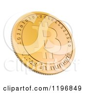 Clipart Of A 3d Golden Bit Coin On White Royalty Free CGI Illustration by Mopic