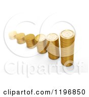 Clipart Of 3d Stacks Of Golden Bit Coins On White Royalty Free CGI Illustration by Mopic