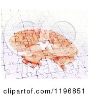 Clipart Of A 3d Jigsaw Puzzle Of A Brain One Piece Disconnecting Symbolizing Memory Loss Royalty Free CGI Illustration