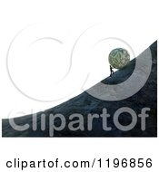 Clipart Of A 3d Man Pushing A Giant Money Ball Up A Hill Over White Royalty Free CGI Illustration