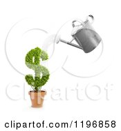 Clipart Of A 3d Watering Can Pouring Over A Dollar Symbol Plant Royalty Free CGI Illustration