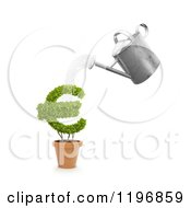Clipart Of A 3d Watering Can Pouring Over A Euro Symbol Plant Royalty Free CGI Illustration by Mopic