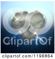 Clipart Of A 3d Cloud Shaped Heart With Lightning Royalty Free CGI Illustration