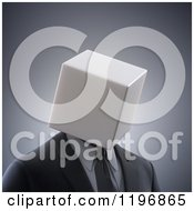 Clipart Of A 3d Anonymous Businessman With A Box Head Over Gray Royalty Free CGI Illustration