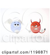 Clipart Of 3d Angry Devil And Innocent Angel Emoticons Floating Over White Royalty Free CGI Illustration