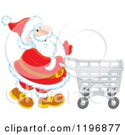 Cartoon Of Santa Pushing A Shopping Cart Royalty Free Vector Clipart by Alex Bannykh