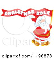 Cartoon Of Santa Carrying A Red Christmas Sale Ribbon Flag Royalty Free Vector Clipart