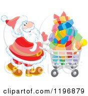 Cartoon Of Santa Pushing A Shopping Cart Full Of Gifts Royalty Free Vector Clipart
