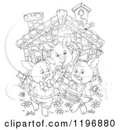 Cartoon Of An Outline Of The Three Little Pigs Dancing At A Cottage Royalty Free Clipart