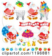 Cartoon Of Christmas Toys Gifts And Santas Royalty Free Vector Clipart