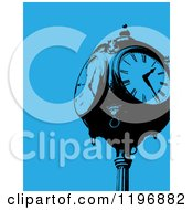 Clipart Of A Vintage Clock Post Over Blue Royalty Free Vector Illustration by Maria Bell