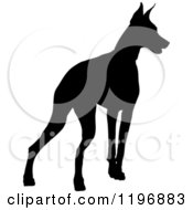 Clipart Of A Black Silhouetted Doberman Pinscher Dog Royalty Free Vector Illustration