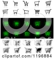 Clipart Of Black And White And Glowing Green Shopping Carts Royalty Free Vector Illustration by dero